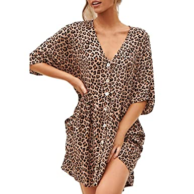 f98de3448e9a OldSch001 Womens V-Neck Sexy Button Leopard Splice Print Button Casual Dress  with Pocket(