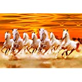 wallpics™ Seven Lucky Running Horses Vastu Fully Waterproof Vinyl Sticker Poster for Living Room,Bedroom,Office,Kids Room,Hall(12inchX18inch)