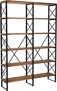 IRONCK Bookshelf, Double Wide 6-Tier Open Bookcase Vintage Industrial Large Shelves, Wood and Metal Etagere Bookshelves, for Home Decor Display, Office Furniture