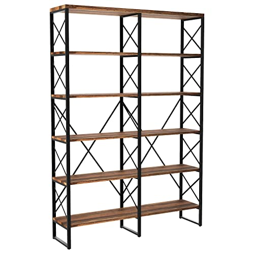 IRONCK Bookshelf Double Wide 6-Tier 76 H, Open Large Bookcase, Industrial Style Shelves, Wood and Metal Bookshelves for Home Office, Easy Assembly, Vintage Brown