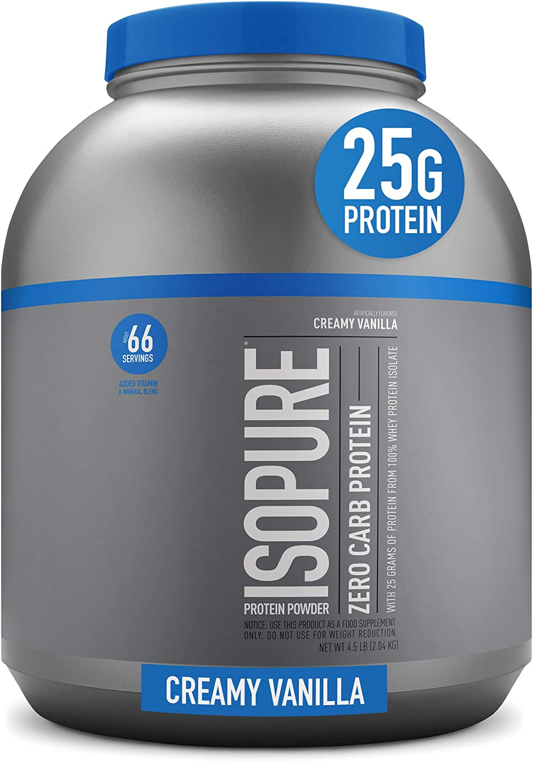 Isopure Zero Carb, Vitamin C and Zinc for Immune Support, 25g Protein, Keto Friendly Protein Powder, 100% Whey Protein Isolate, Flavor: Creamy Vanilla, 4.5 Pounds (Packaging May Vary)