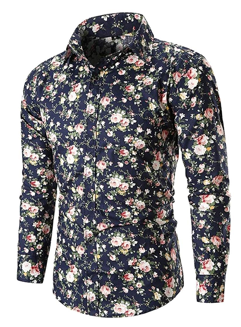 Joe Wenko Men Long Sleeve Casual Print Floral Turn Down Button Up Shirts
