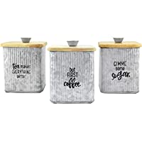 AuldHome Farmhouse Galvanized Canisters (Set of 3); Storage Containers for Coffee, Tea and Sugar in Galvanized Iron and…