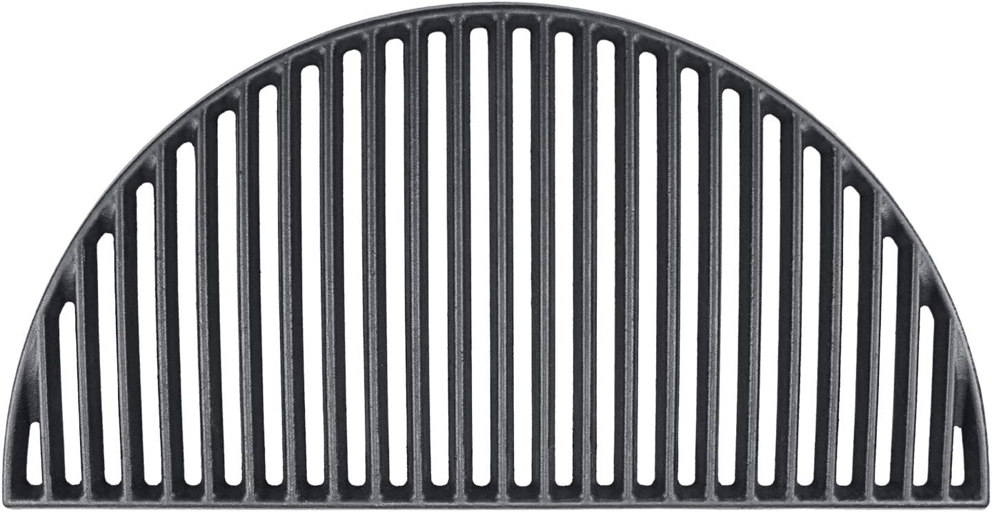 Hisencn 18'' Half Moon Cast Iron Cooking Grate for Large Big Green Egg, Kamado Joe Classic I, II, III, Pit Boss K22, Louisiana K22, Coyote The Asado Cooker, Any 18 Inch Kamado Grill