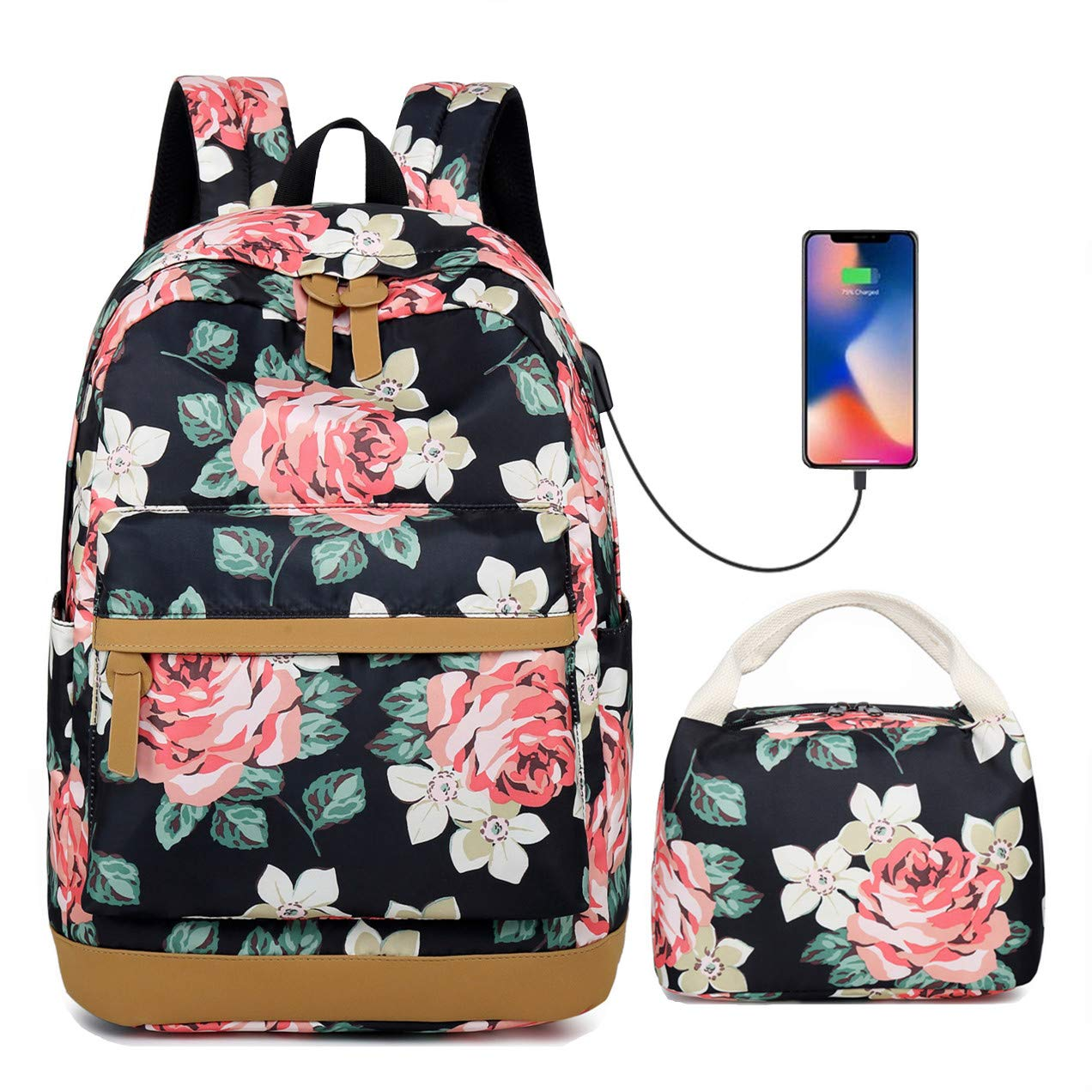 Teen Girl's Rose High School Bookbag College Backpack Set Shopping Travel Rucksack 15Inch Laptop Bag with USB Charging Port Floral
