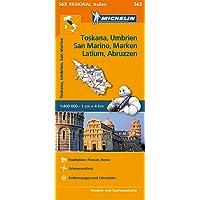 Michelin Toskana, Umbrien, San Marino, Marken, Latium, Abruzzen: Straßen- und Tourismuskarte 1:400.000 (MICHELIN Regionalkarten, Band 563)