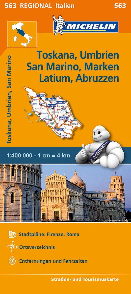 Michelin Toskana, Umbrien, San Marino, Marken, Latium, Abruzzen: Straßen- und Tourismuskarte 1:400.000 (MICHELIN Regionalkarten)