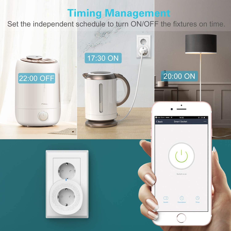 No Hub Richiesto Google Home e IFIIT Presa da Muro con 2 Porte USB 2,4 A Orbecco WiFi Smart Plug Bianco Compatibile con Alexa Echo Certificazione RoHS,Smart Life App Controllo Remoto,10A