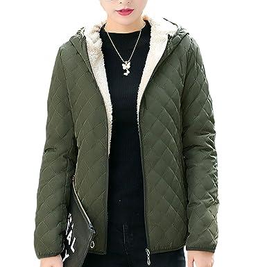 5826f383084 Flygo Women's Hooded Diamond Quilted Fleece Lined Jacket Coat ...
