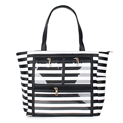 ed35807d60 PU Striped Handbag Essential Oils Carrying Bags Water Resistant with  multiple display windows (PVC pockets