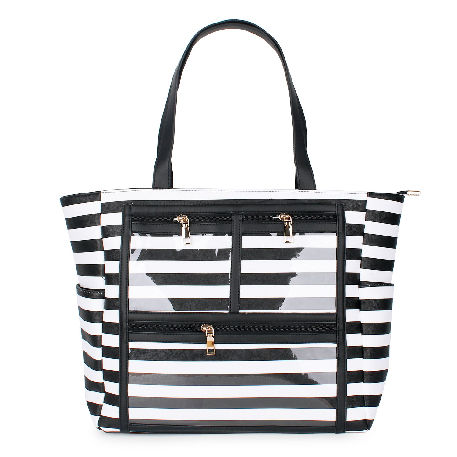 PU Striped Handbag Essential Oils Carrying Bags Water Resistant with multiple display windows (PVC pockets) (PVC black)