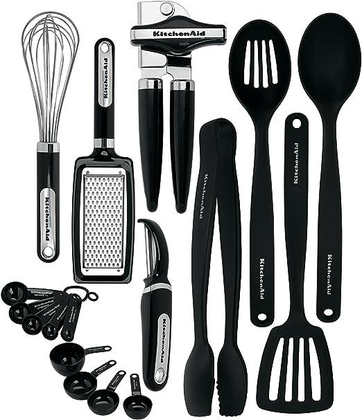 KitchenAid KC448BXOBA 17-Piece Tools and Gadget Set, Black