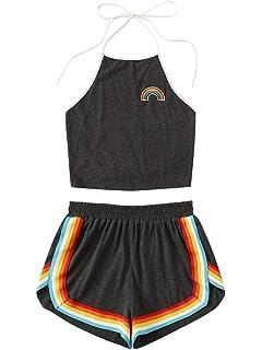 9da0d3fefec6 Romwe Women's Comfy Swing Tunic Short Sleeve Contrast Striped T ...
