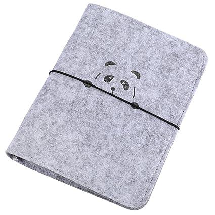 A5 Binder Personal Organizer A5 Agenda Diary Journal,Harphia,Cute Panda(A5,Gray)