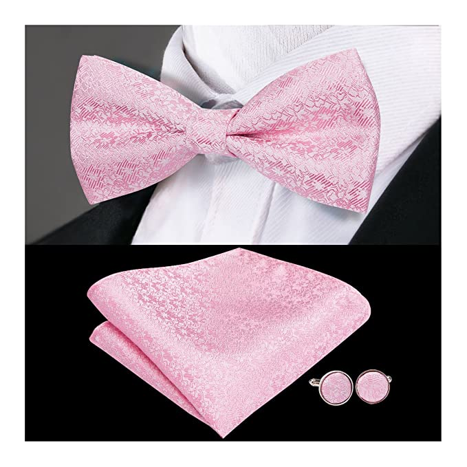 af00adf646f4 Amazon.com: Dubulle Bowtie Set and Pocket Square Cufflinks Banded Pre-tied  Bow Ties Set Pink Bowtie for Men: Clothing