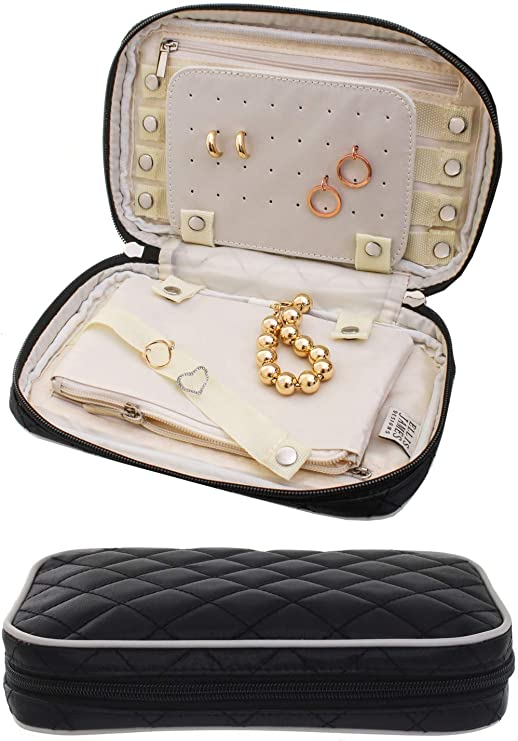 Amazon Com Ellis James Designs Travel Jewelry Organizer Elegant Travel Jewelry Case Quilted Exterior Padded For Protection Keeps Your Earrings Necklaces Organized And Secure Jewelry Roll Travel Case Black Home