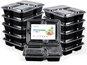 ZHUFON【10 Pack】3 Compartment Meal Prep Containers with Lids, BPA Free Lunch Boxes, Disposable Plastic Bento Boxes-Stackable, Reusable, Microwaveable & Dishwasher Safe