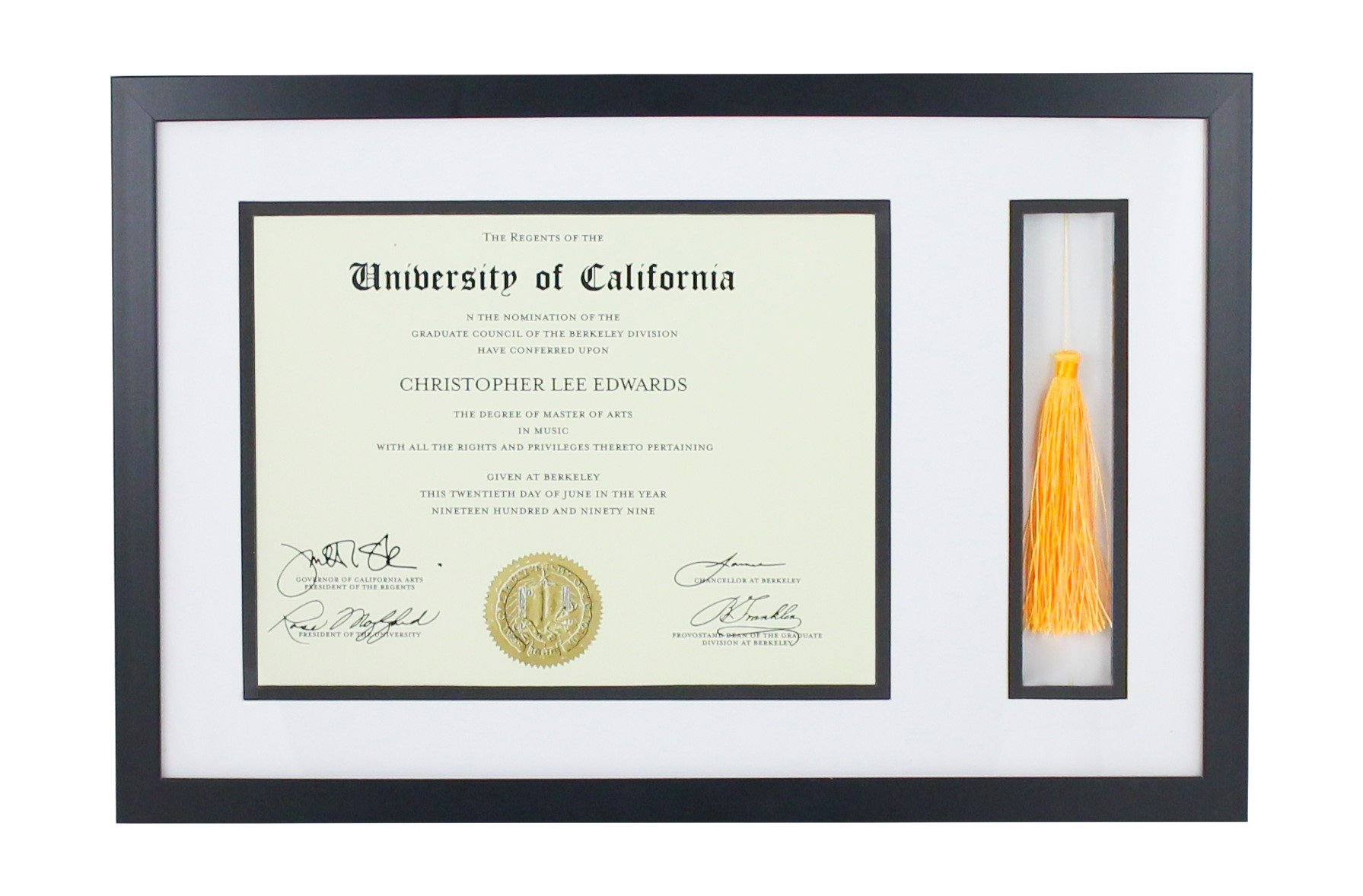 Document Frame With Tassel Holder - Made to Display Certificates 8 ½ x 11 Inch Opening to 11 x 18 Inch Frame- Document Frame, Certificate Frame, University Diploma Frame, 11x14 Black Picture Frame