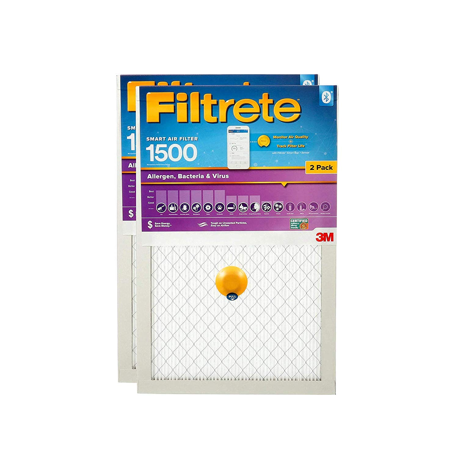 Filtrete Allergen Smart Replenishable AC Furnace Air Filter, Bacteria & Virus, MPR 1500, 20 x 20 x 1-Inches, 2-Pack