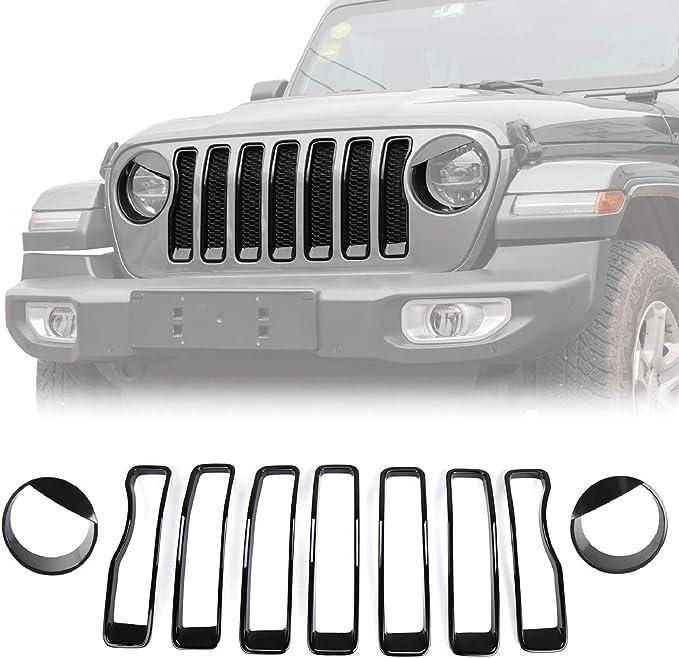 Aupar Matte Black Front Grille Grid Compatible with 2018-2020 Jeep Wrangler JL JLU