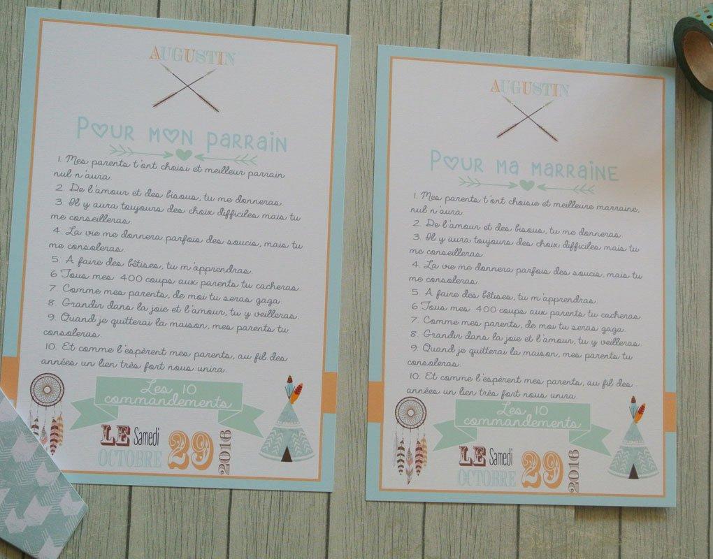 2 grands cartes les 10 commandements du parrain et de la marraine thème Tipi