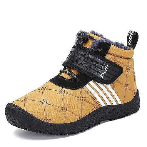440a6dd3228f2 Voovix Chaussures d hiver Garçons Filles Bottes de Neige Chaud Bottes  Fourrees Enfant Bottines Légères