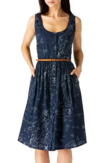Sugarhill Boutique Womens Navy Map Print Beatrice Sundress Dress UK