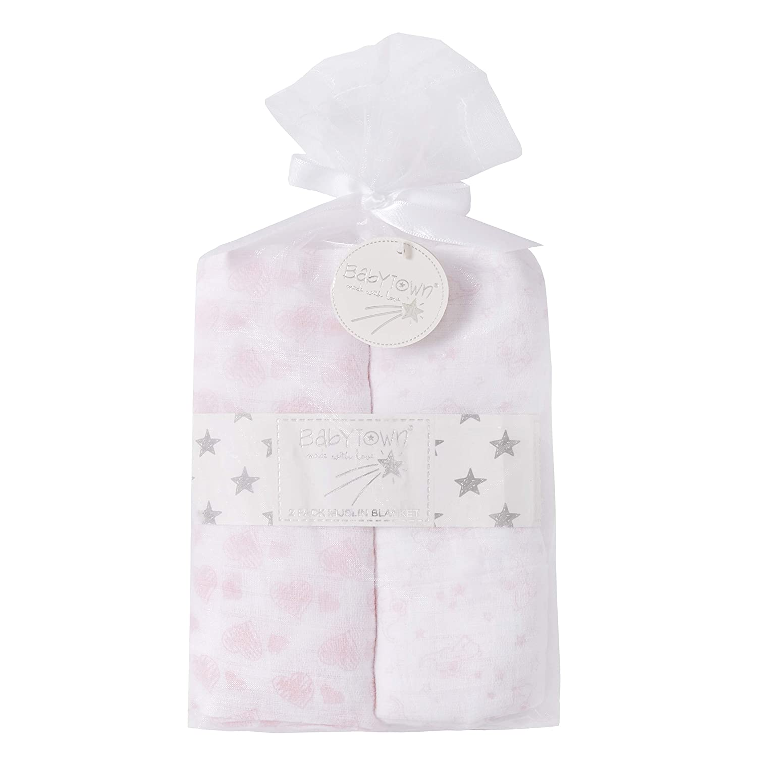 Grey Babies Two Pack Babies Muslin Squares in Gift Bag Silver Blue Or Pink Detail Free Gift of Burpee Cloth