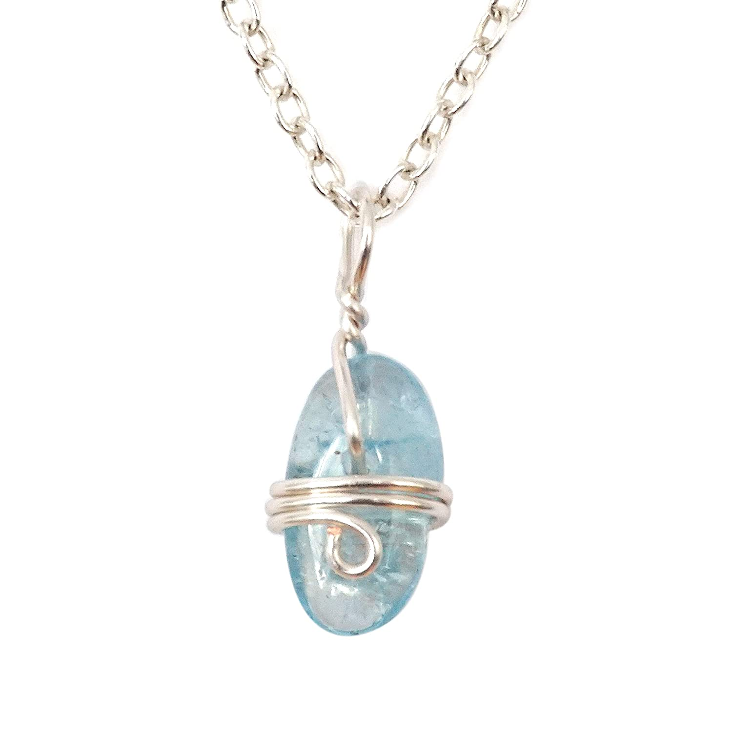 Dainty aquamarine sterling silver necklace