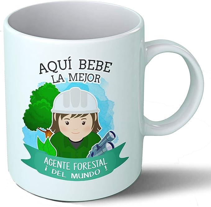 Planetacase Taza Desayuno Aquí Bebe la Mejor Agente Forestal del Mundo Regalo Guarda bosques Ceramica 330 mL: Amazon ...