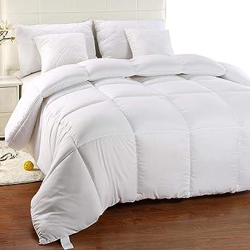 Utopia Bedding Bettdecke Warm Zudecke 1500g Füllung Microfaser Antiallergisch Für Allergiker Gesteppte Steppdecke Weiß 200 X 200 Cm