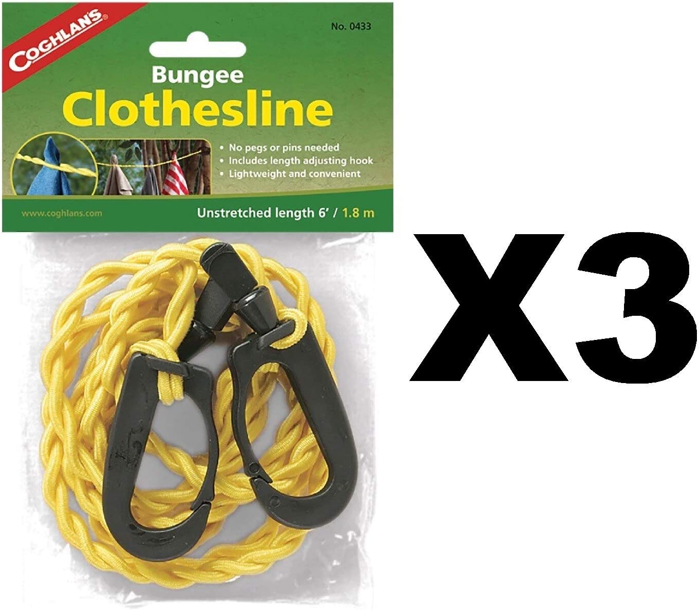Coghlan's Bungee Clothesline Pegless w/Carabiner Clips Laundry Drying (3-Pack)