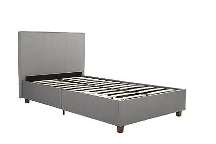 Amazon.com: DHP Maddie Upholstered Platform Bed Frame, Grey Linen ...
