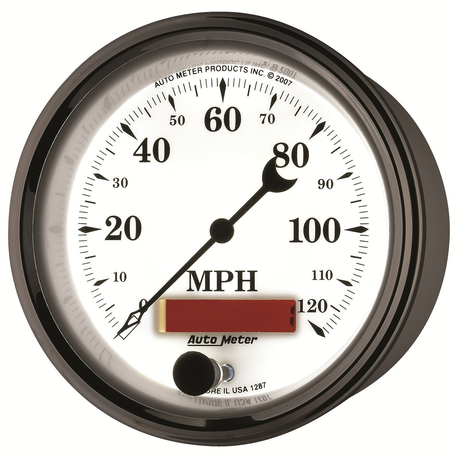 Auto Meter 1287 Old Tyme White II 3-3//8 120 mph Electric Programmable Speedometer Gauge