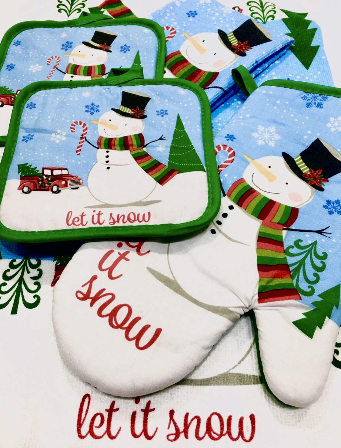 Holiday Kitchen Snowman and Old Red Truck(Let it Snow) Decor Towel Set with Pot Holder Oven Mitt and Bonus 1 Self Adhesive Gift Tag Stickers Best Xmas Idea for Gift and Decoration