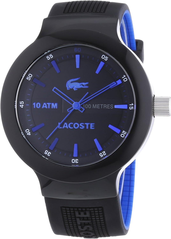 Lacoste 2010658 - Reloj analógico de Cuarzo para Hombre con Correa de Silicona, Color Negro