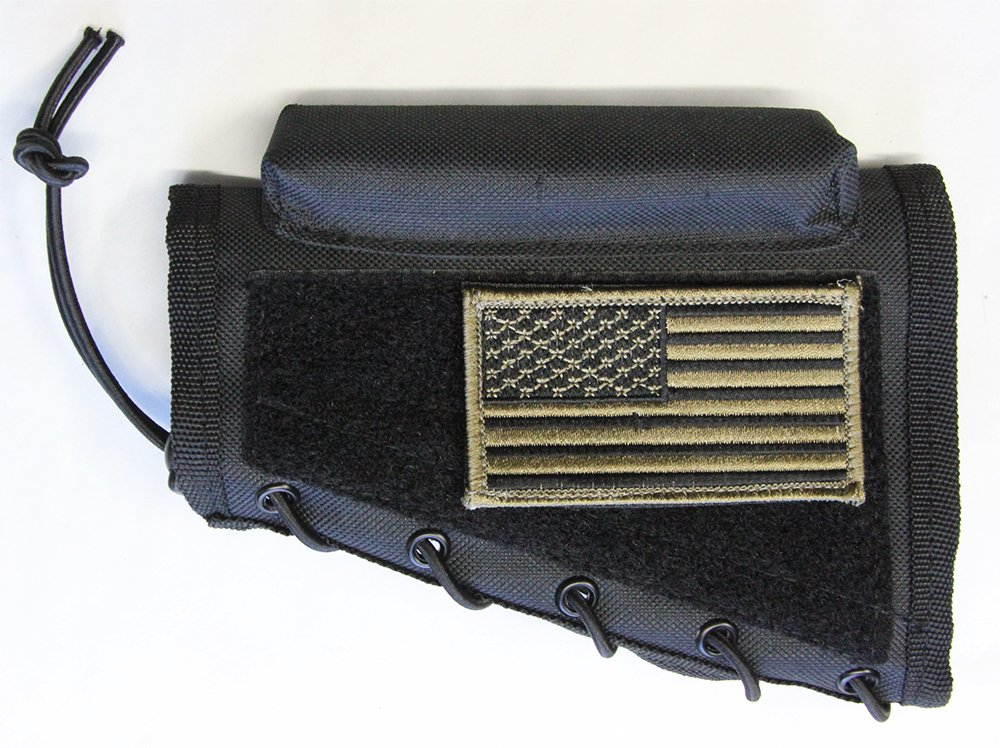 M1SURPLUS Black Color Cheek Rest + Patriot USA Flag Morale Patch + Detachable Pouch Fits Ruger 10/22 American Mini14 Mini30 Ranch 77/22 M77 Gunsite Scout Rifles by M1SURPLUS