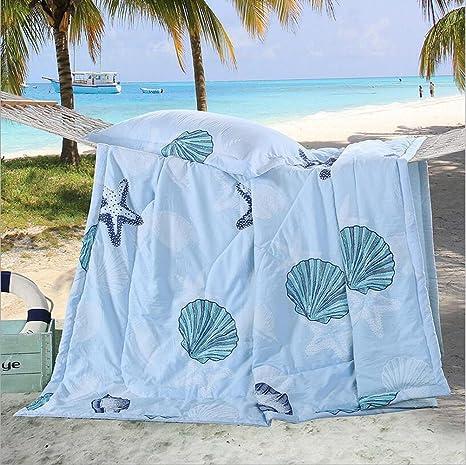 mixinni® Fina Edredón Colcha conchas diseño ligero para verano primavera, algodón, SeashellB,