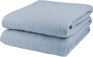 Pure Warmth Fleece Electric Heated Blanket Queen Cloud Blue