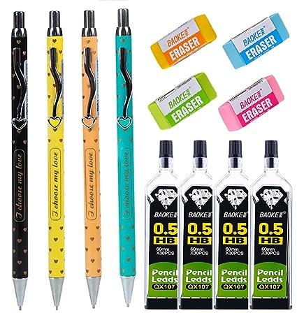 amazon com 12 pieces mechanical pencil set 0 5 mm 4 pieces