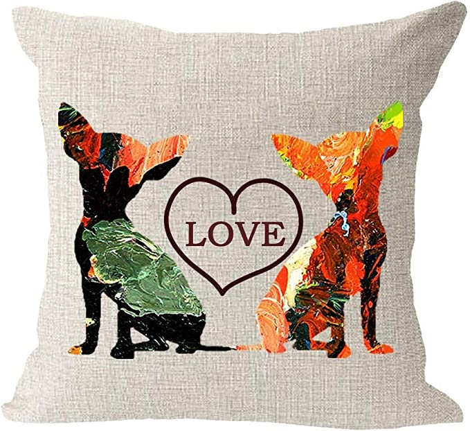 Amazon Com Nobrands Oil Painting Family Pet Animal Dog Chihuahua And Cat Love Heart Cotton Linen Square Throw Waist Pillow Case Decorative Cushion Cover Pillowcase Sofa Home Kitchen