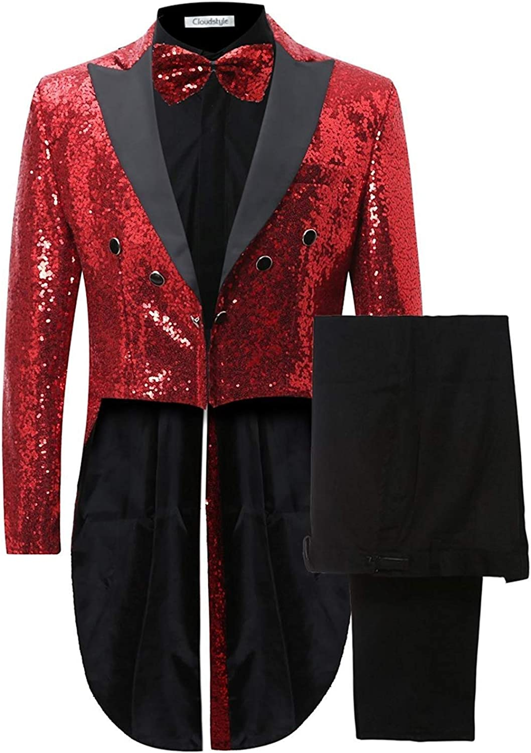 Mens 2 Piece Tuxedo Classic Dress Suit Dinner Red Blazer Jacket Black Pants