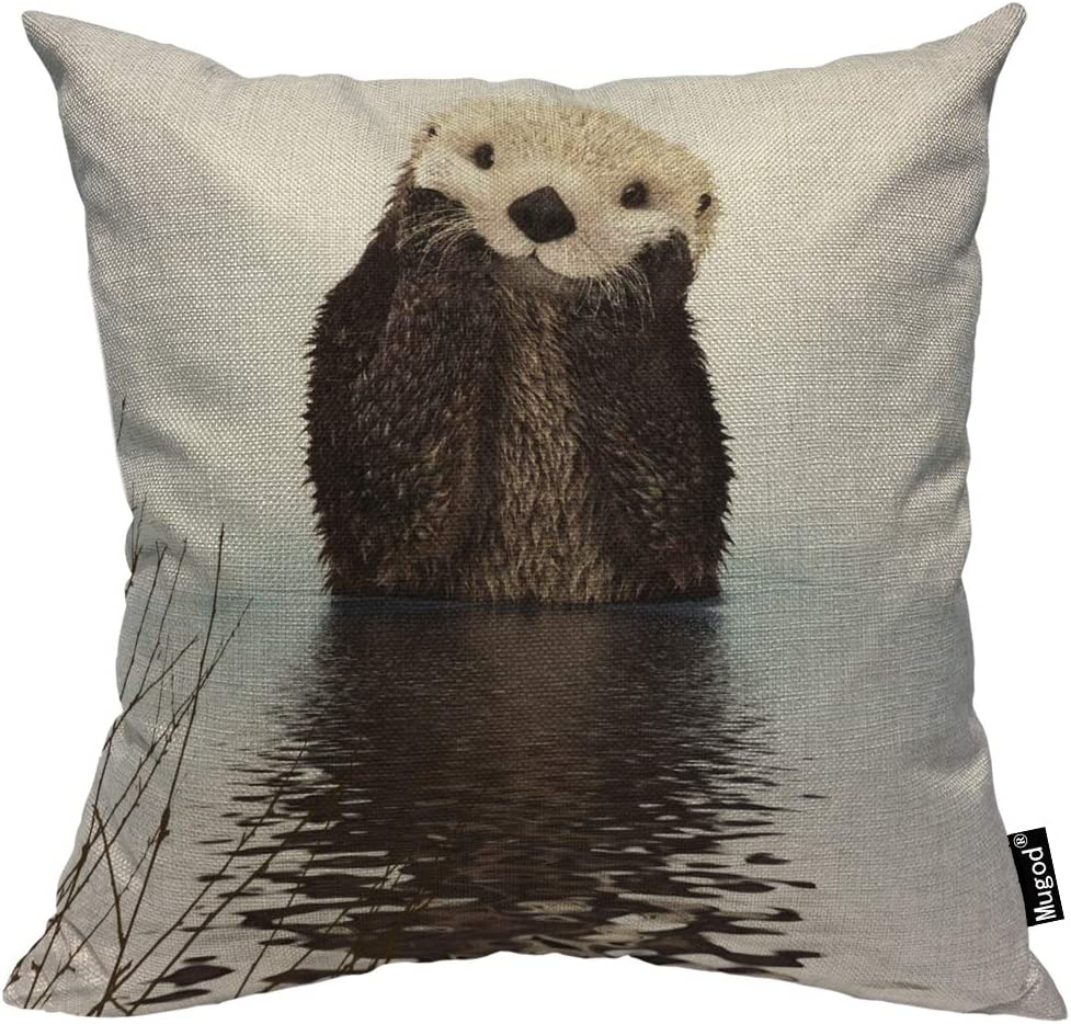 Mugod Otter Decorative Throw Pillow Cover Case Cute Fluffy Otter Floating in The River Brown and White Cotton Linen Pillow Cases Square Standard Cushion Covers for Couch Sofa Bed 18x18 Inch