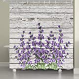JAWO Flower Shower Curtain for Bathroom, Retro Style Purple Flowers on Vintage Wood Background Rustic Floral Pattern Bathroom