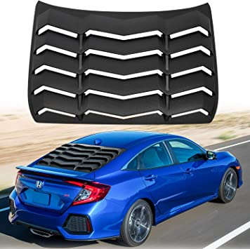 Matte Black Bonbo for 10th Gen Civic Racing Style Rear Side Window Louvers Air Vent Scoop Shades Cover Blinds ABS for Honda Civic Sedan 2016 2017 2018 2019 2020 Custom Fit