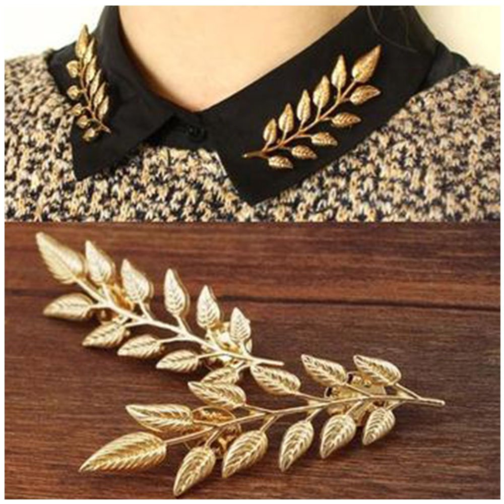 MINGHUA Gentlemen Suit Brooches Simple Elegant Double Leaf Collar Pin Brooch Gold Silver Plant Brooch B07C86THTC_US