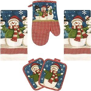Lobyn Value Packs Kitchen Towel 5 Piece Linen Set 2 Towels 2 Pot Holders 1 Oven Mitt (X-Snowman)