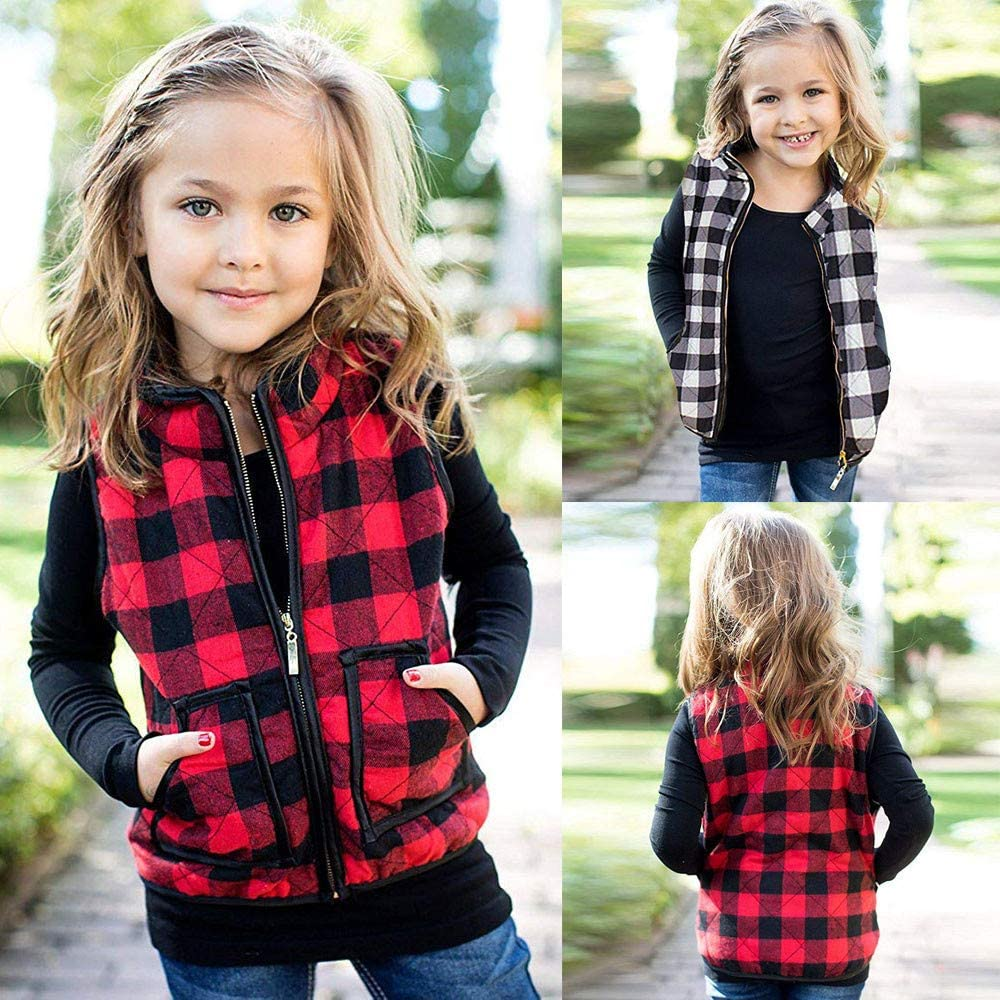 BSGSH Baby Girls Vests Classic Plaid Zipper Sleeveless Quilted Jacket Waistcoat with Pockets