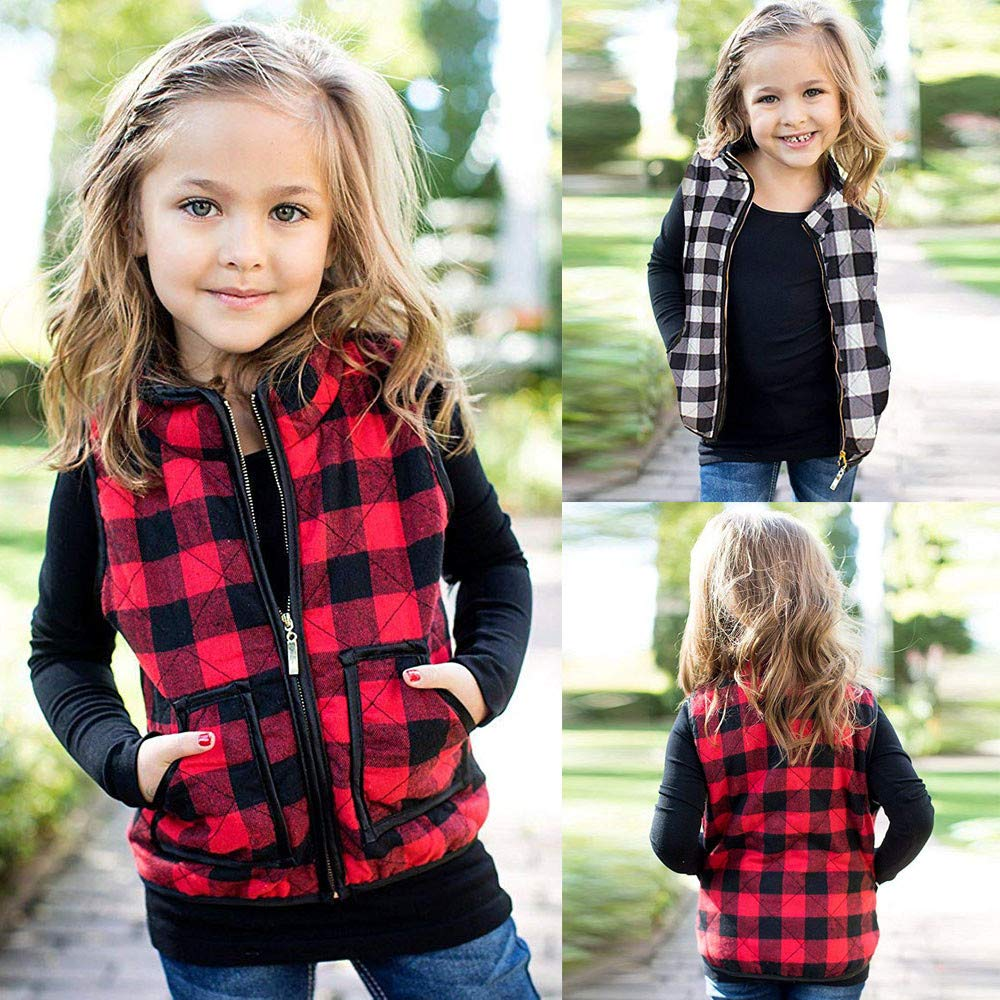 Yezijin Toddler Kid Baby Boys Girls Winter Warm Plaid Waistcoat Sleeveless Jackets Vest Thick Coat Outwear Clothes