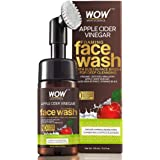 WOW Apple Cider Vinegar Exfoliating Face Wash W/Brush - Soft, Silicones Bristles - Foaming Cleanser For All Skin Type…